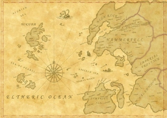 A map with the geographical location of Azura's Watch